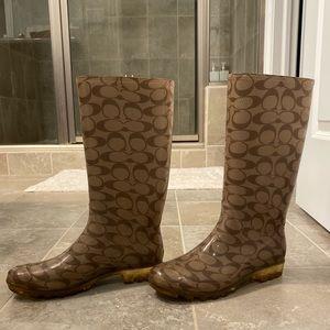 Coach Shoes - Coach Rainboots (tan/brown) — size 9